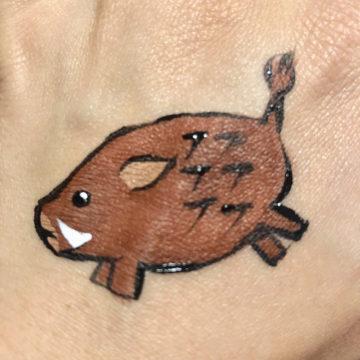 年賀状に猪のフェイスペイント